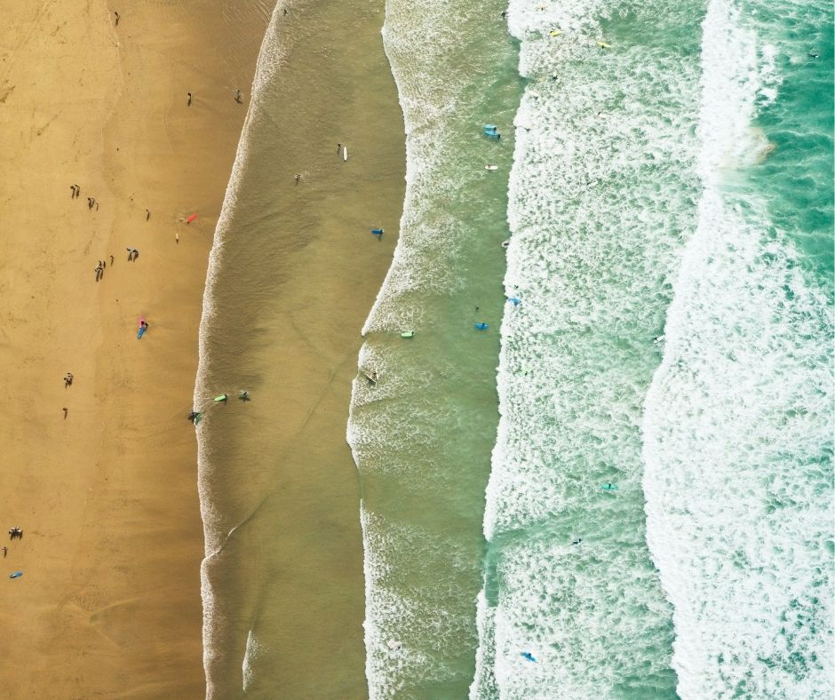 aerial of surf in Newquay fb